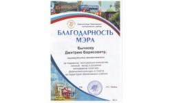 Благодарность мэра Шелеховского р-на Лобанова А.Ю., 2012 год